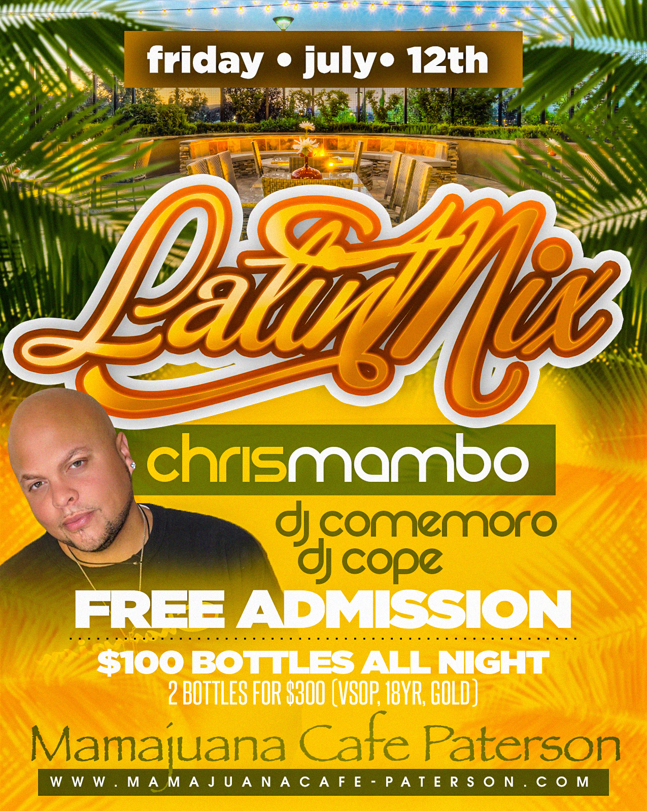 Latin Mixx Fridays at Mamajuana Cafe in Paterson $100 Bottle specials all night hookah available music powered by Dj Cope, Dj Comemoro & X96.3's own Dj Chris Mambo.  Contact 201.481.7906 for more details or reservations.